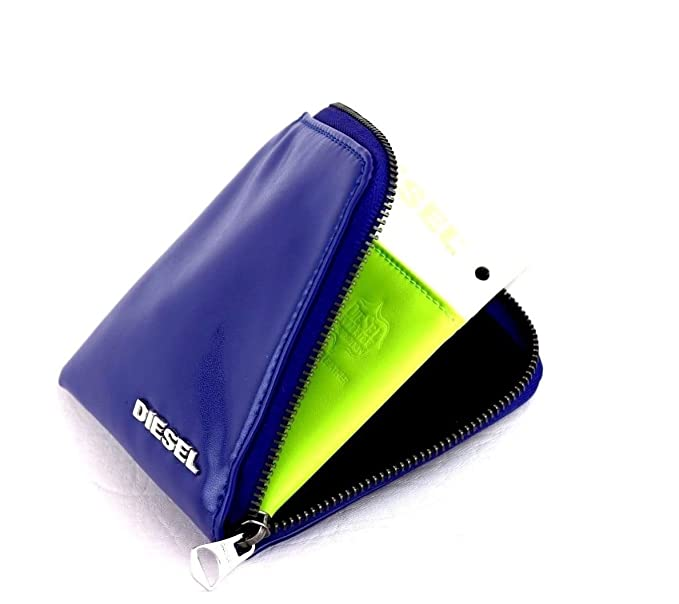 Diesel Leather Wallet Blue and Green - Card and Coin Pouch