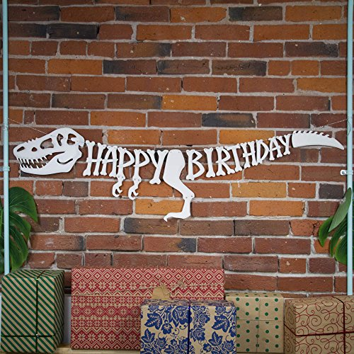 3D Dinosaur Happy Birthday Banner – Dinosaur Party Supplies Decorations – PREMIUM Dinosaur Decorations T-Rex Raptor Design with 3D Shading – NEW for 2018, Realistic, Large and Pre-assembled -