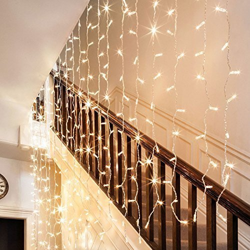 ADDLON String Lights Starry Curtain lights Waterproof Wall Lights 300 LED Fairy Lights 8 Modes Decorative Lights For Wedding Bedroom Holiday Party Indoor UL Certification (Warm white)
