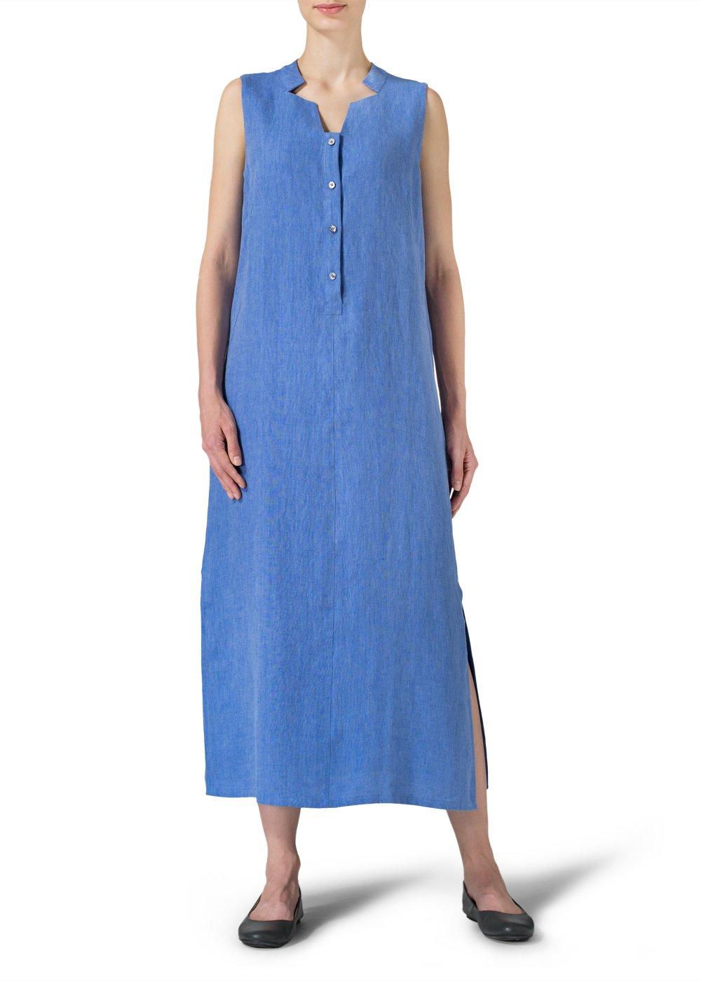 Vivid Linen Sleeveless Slip on Dress-3X-Sky Blue