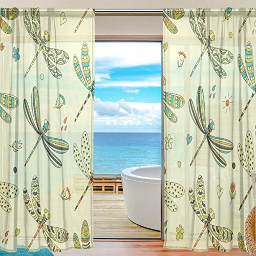 SEULIFE Window Sheer Curtain Animal Dragonfly Pattern Voile Curtain Drapes for Door Kitchen Living Room Bedroom 55x84 inches 2 Panels by SEULIFE