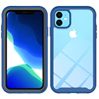 iPhone 11 Hybid Case, Comfortable Grip, Slim Fit, Anti-Drop, Wireless Charging Available, 360 Degree Protection Clear Bumper Protective Case for iPhone 11 6.1inch - Blue