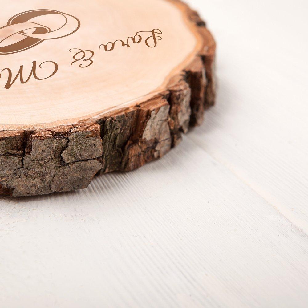 Regalo para Parejas Idea para Regalo de Bodas Casa Vivente Motivo: Anillos Rodaja de /Árbol y 2 Copas de Vino Blanco con Grabado Individual Detalles Bonitos para San Valent/ín