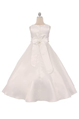 c6082fc109e Amazon.com  Long Satin First Communion Dress and Flower Girl Dress -  Classic Pearl Trim Dress - Size 8