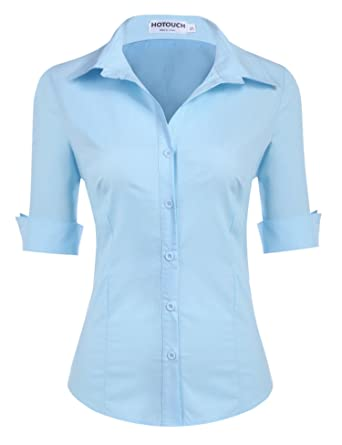 28a02f362 HOTOUCH Womens 3/4 Sleeve Basic Cotton Button Down Shirt: Amazon.co.uk:  Clothing