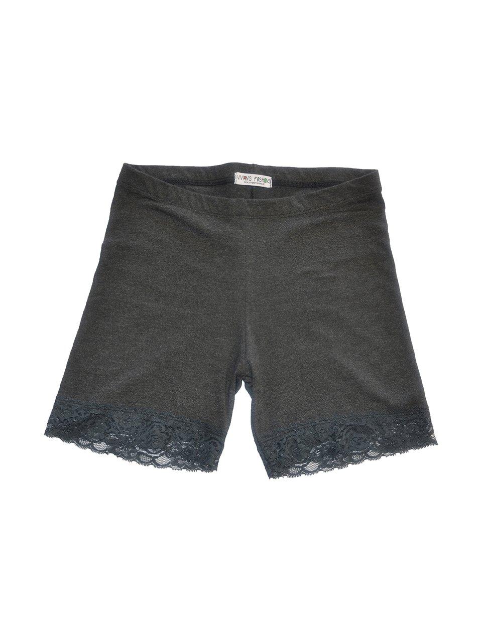 Vivian's Fashions Legging Shorts - Girls, Cotton, Lace Trim (Charcoal, Large)