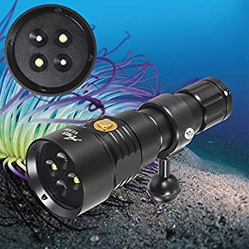 Image of Diving Lights ANO V1500UV Diving Video Light with White UV Color 1500 Lumens Diving Photo Light with Kingkong 26650 Battery and USB Charger Recreational Waterproof Underwater Video Light