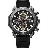 Reloj para Hombre Elegante Casual Analógico Cuarzo Impermeable cronógrafo Reloj Impermeable para Hombre Correa de Caucho…