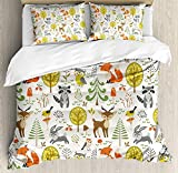 Our Wings Kids Comforter Set,Woodland Forest Animals Trees Birds Owls Fox Bunny Deer Raccoon Print Bedding Duvet Cover Sets Boys Girls Bedroom,Zipper Closure,4 Piece Twin Size