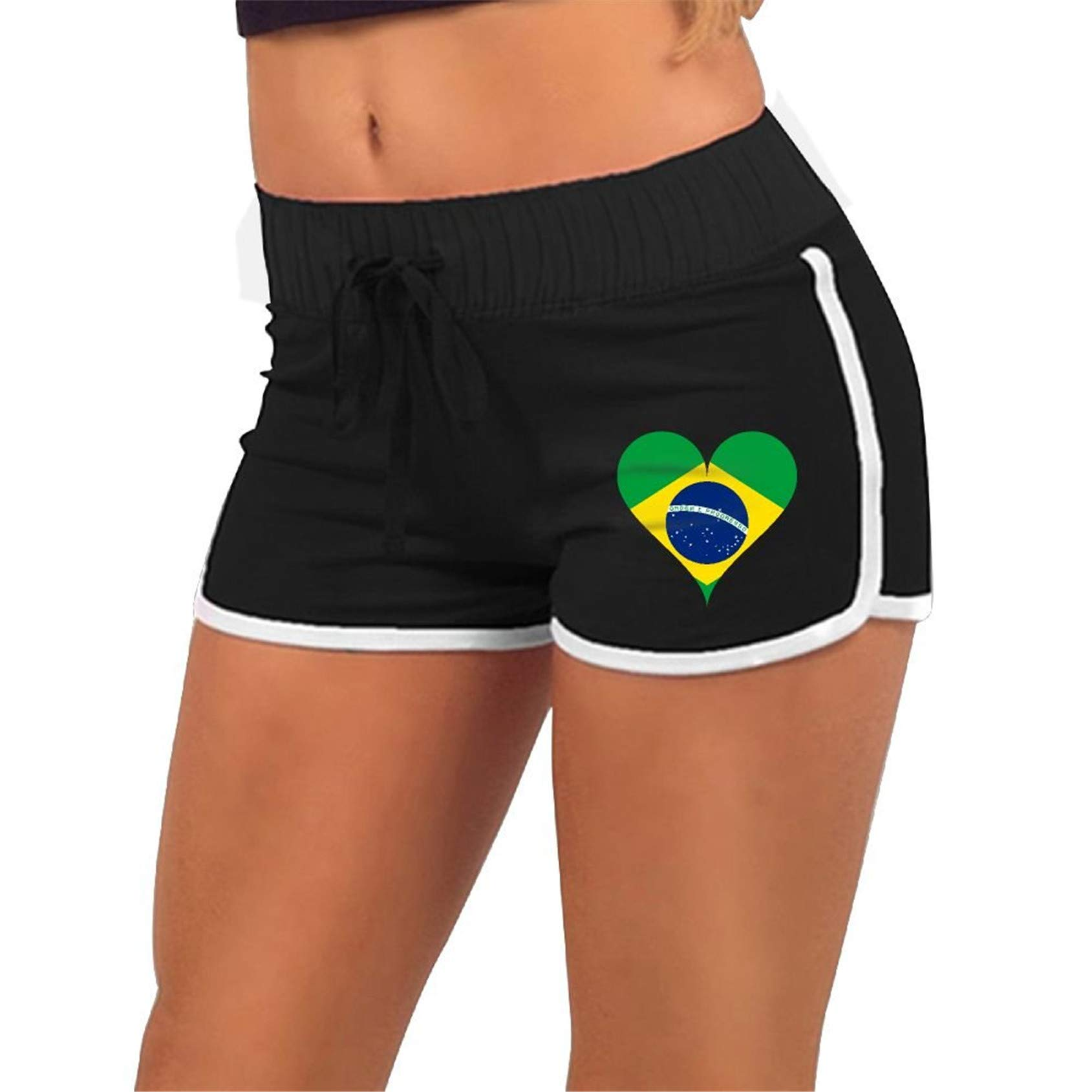 Heart Brazilian Flag,Running,Workout Shorts Pants with,Athletic Elastic Waist Womens Sports Shorts