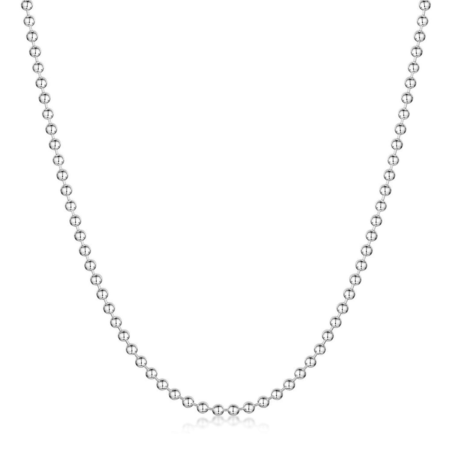 MENDINO 2.0mm 925 Sterling Silver Ball Bead Chain Necklace 16 with 1X Velvet Bag Silver
