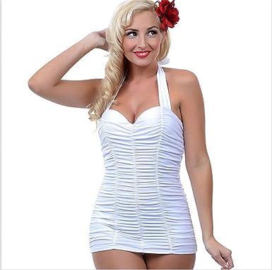 DaBag-Grande Taille Tankini Swimsuit Robemaillot De Bain Femme Avec Jupe Mince Taille Beachwear Volantée Monokini (L, Blanc)