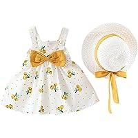 Vestido Bebé Niña Verano sin Mangas Elegante - Falda Corta de Niña + Sombrero de Sol con Lazo Conjunto de 2 Piezas…