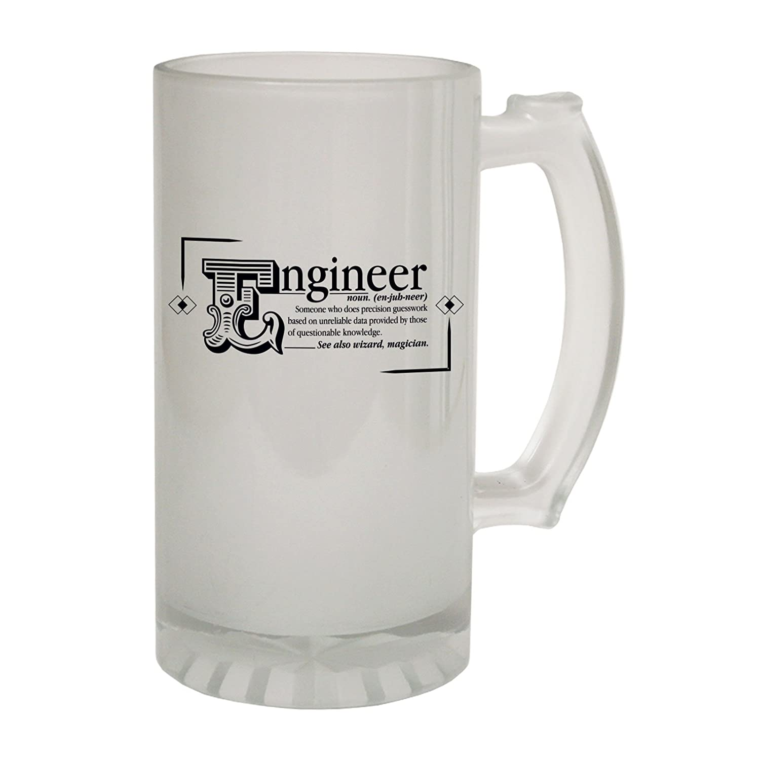 123t Frosted Glass Beer Stein - Engineer Noun Geek Nerd - Funny Novelty Birthday