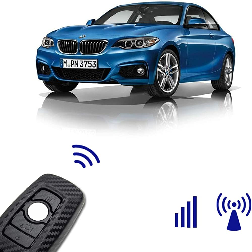 WORCAS Key Fob Cover Carbon Fiber Texture Car Key Shell case with Keychain Remote Key Protector Fit for BMW 1 3 4 5 6 7 Series GT3 GT5 M5 M6 X3 X4 4 Button