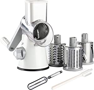 Tevokon Rotary Cheese Grater Round Mandoline Multi Blade Slicer with Non-slip Suction Base, 3 Blades Vegetable Slicer Food Chopper Nuts Grinder Cheese Shredder With Brush Peeler White