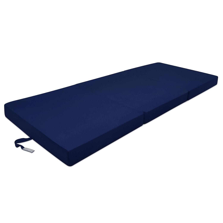 Beautissu Cómodo colchón Plegable Campix Auxiliar futón 60 x 190 x 7 cm Ahorra Espacio Tela Microfibra Azul Marino: Amazon.es: Hogar