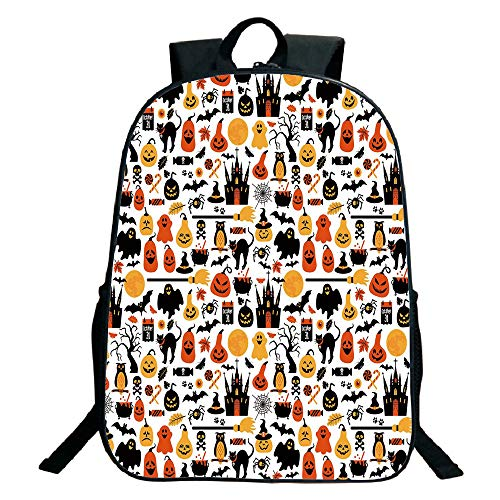 (Kids School Backpack,Halloween,Halloween Icons Collection Candies Owls Castles Ghosts October 31 Theme Decorative,Orange Yellow Black,for Kids,Print Design.15.7