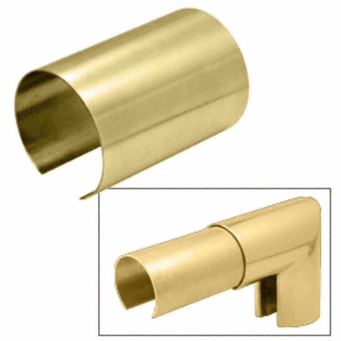 C.R. LAURENCE GR40CSB CRL Brass 4'' Connector Sleeve for Cap Railing, Cap Rail Corner, and Hand Railing