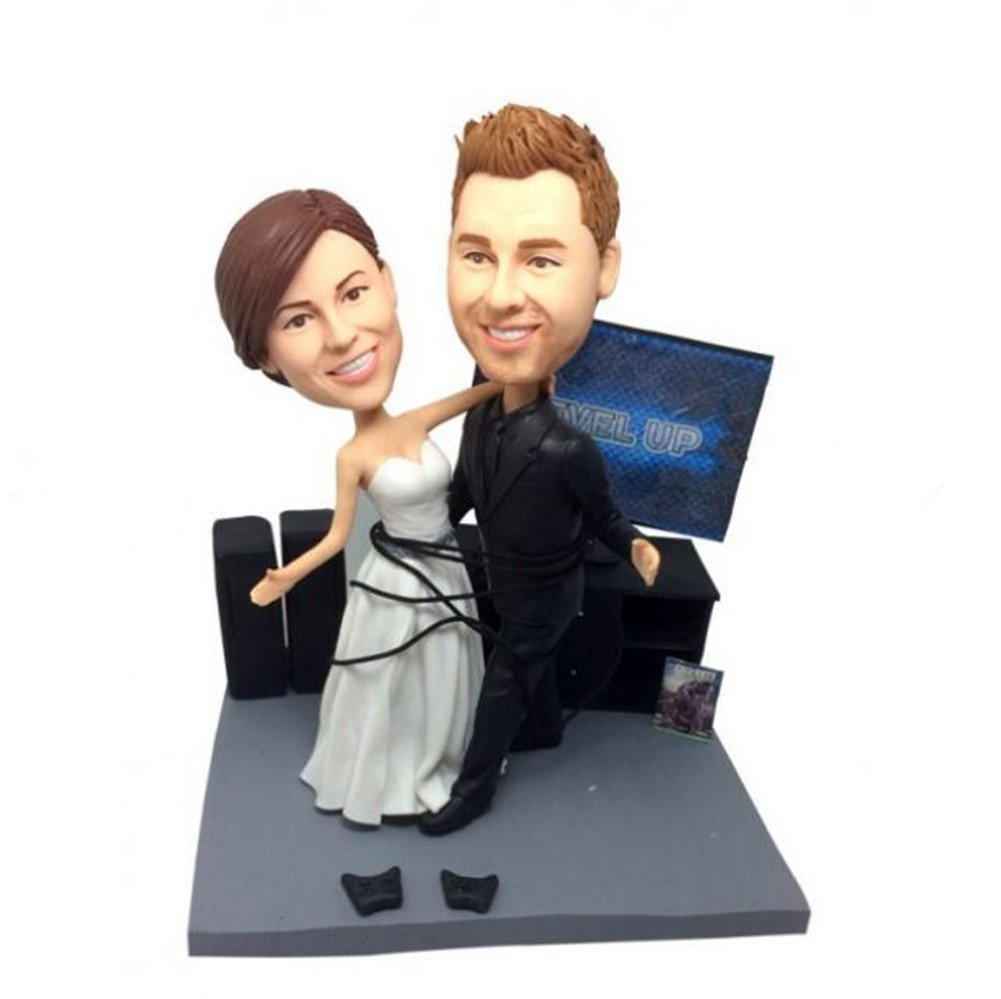 Custom Game Players Wedding Bobblehead Polymer Clay Bobbleheads Cake Toppers