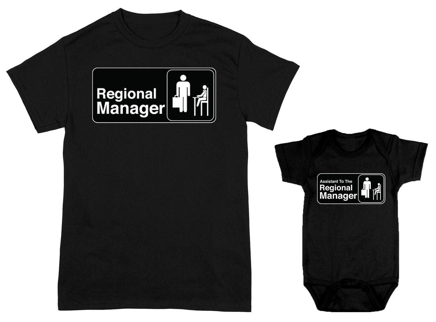 HAASE UNLIMITED Regional Manager/Assistant 2-Pack Bodysuit & Men's T-Shirt (Black/Black, Large/Newborn) by HAASE UNLIMITED