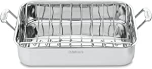 Cuisinart Chef's Classic Stainless 16-Inch Rectangular Roaster with Rack, Roaster Rack