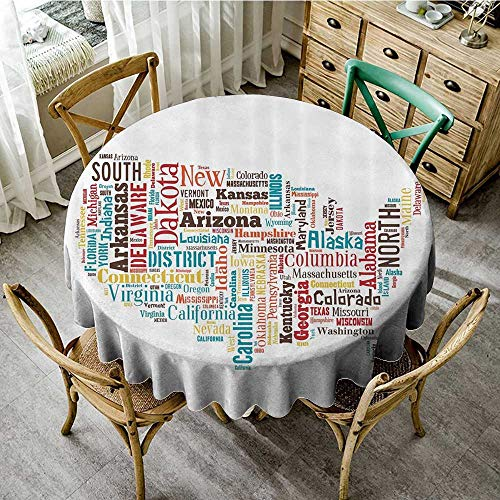 familytaste Round tablecloths Americana for Home Decorations Collection,USA United States America Map Cities and Towns California Missouri Virginia,Teal Brown D 50