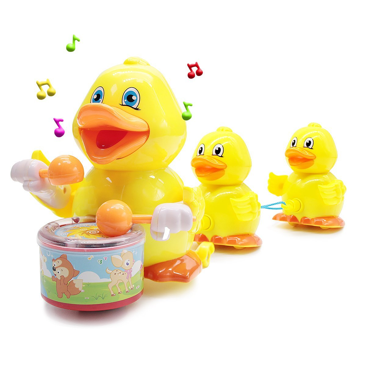 Yellow Duck Toys, Musical Toy Walking Singing Ducklings Following Mom Duck Play Drum Flashing LED Light Bump Go Wheel Gifts Baby Infants Toddlers Kids 1 2 3 Year Old