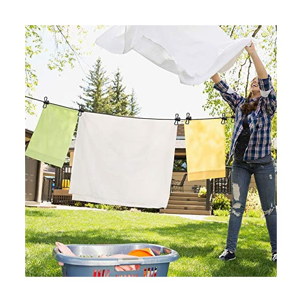 61YdS9EBu4L 2 Stück Wäscheleine,Jusduit Camping Wäscheleine Reise Outdoor 185-360cm,Flexible Wäscheleine Tragbar Elastische mit 12…