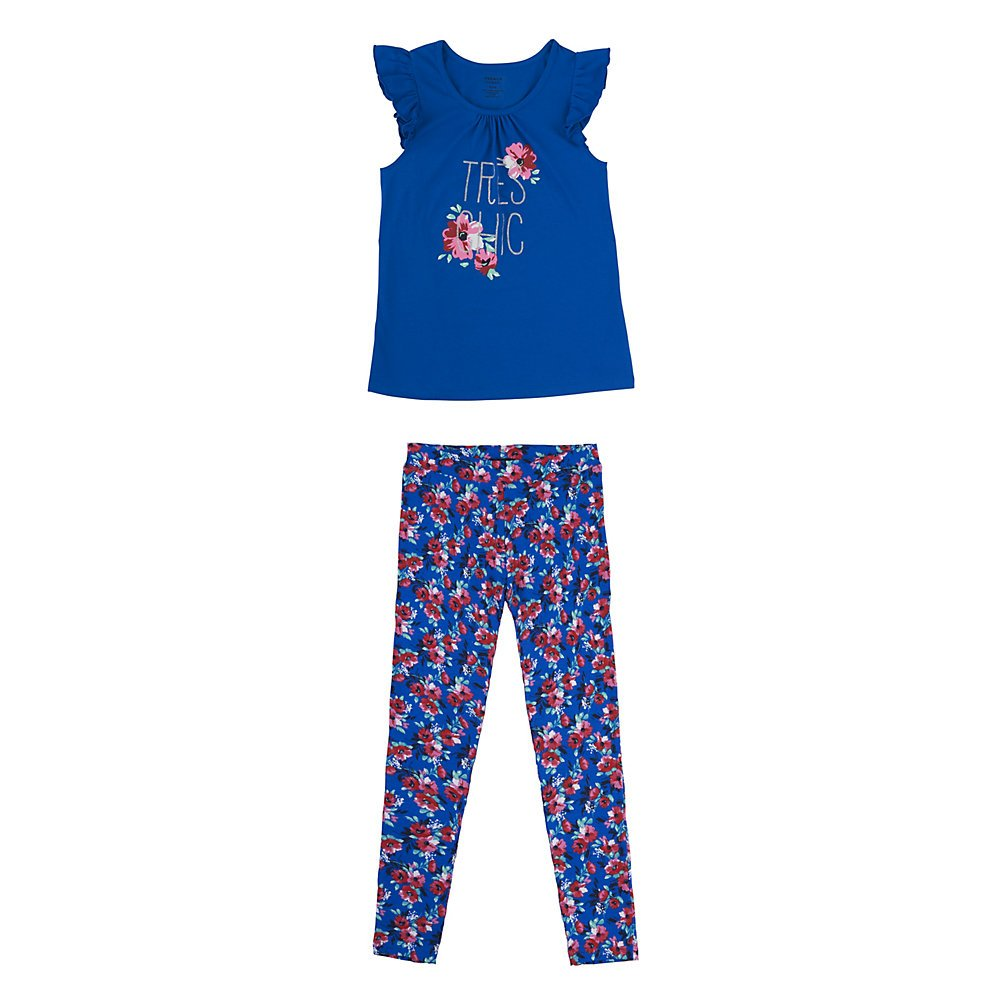 French Toast Baby Girls Short Sleeve Flutter Tee//Printed Legging Set
