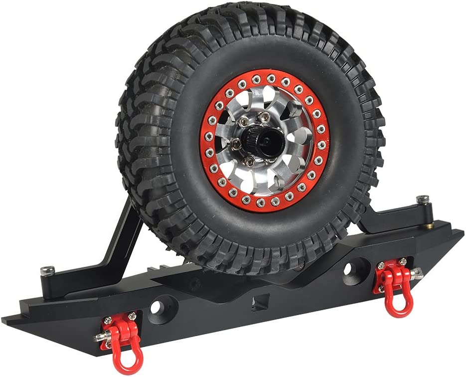 XUNJIAJIE Acero parachoques trasero con estante de rueda de repuesto//Faros LED//Grilletes para Traxxas TRX4 1//10 RC Crawler Auto