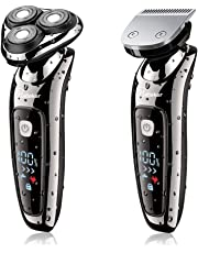 Hatteker Electric Shaver 2 in 1 Beard Razor Professional Rotray Razor for Men Electrical Rotary Shaver Wet and Dry Dual-Used Men's Braed Trimmer with USB Charging-Waterproof