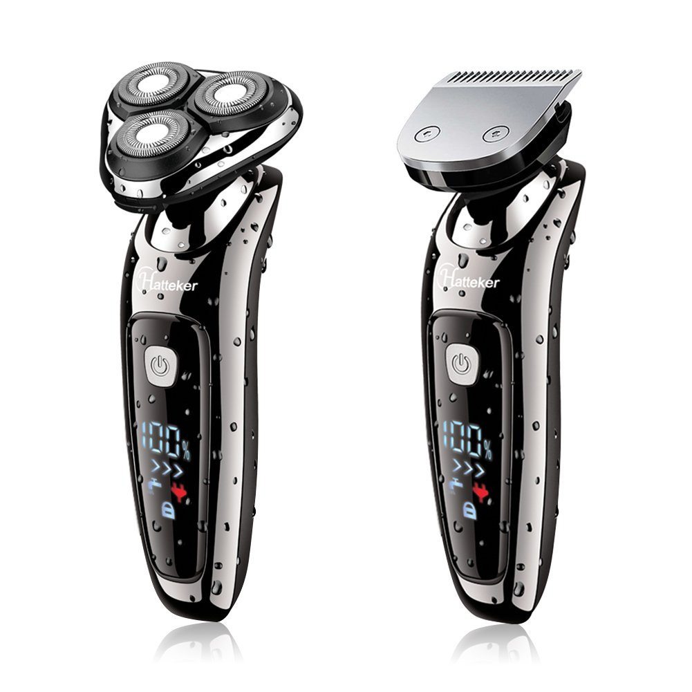 CDM product Hatteker Electric Shaver 2 in 1 Beard Razor Professional Rotray Razor for Men Electrical Rotary Shaver Wet and Dry Dual-Used Men's Braed Trimmer with USB Charging-Waterproof big image