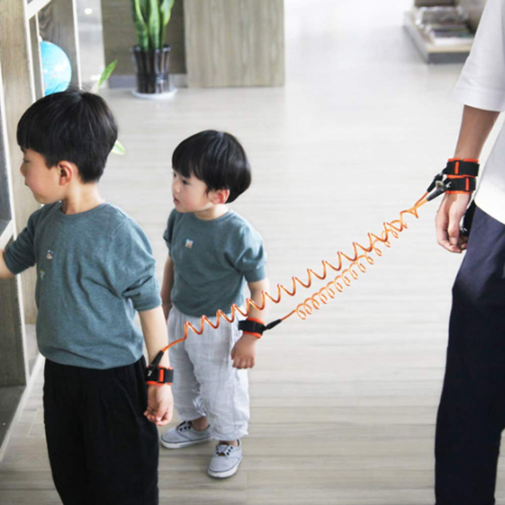 BASONG Anti Lost Wrist Link 2 Pack of Blue and Orange Child Walking Harness Rope Leashes Safety Wrist Ring to Prevent Loss for Toddlers