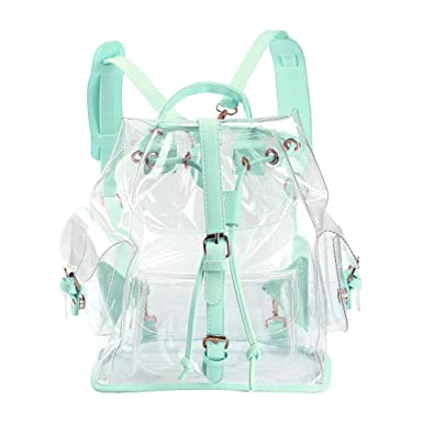 fc8f665222 Zicac Summer Clear Backpack Cute Knapsack Satchel Transparent Stadium  Approved Backpack (Green)