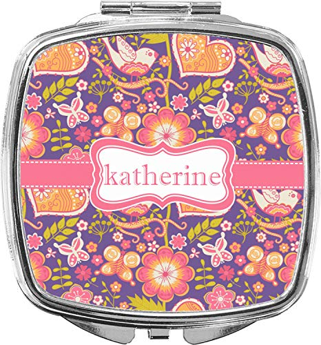 Birds & Hearts Compact Makeup Mirror (Personalized)
