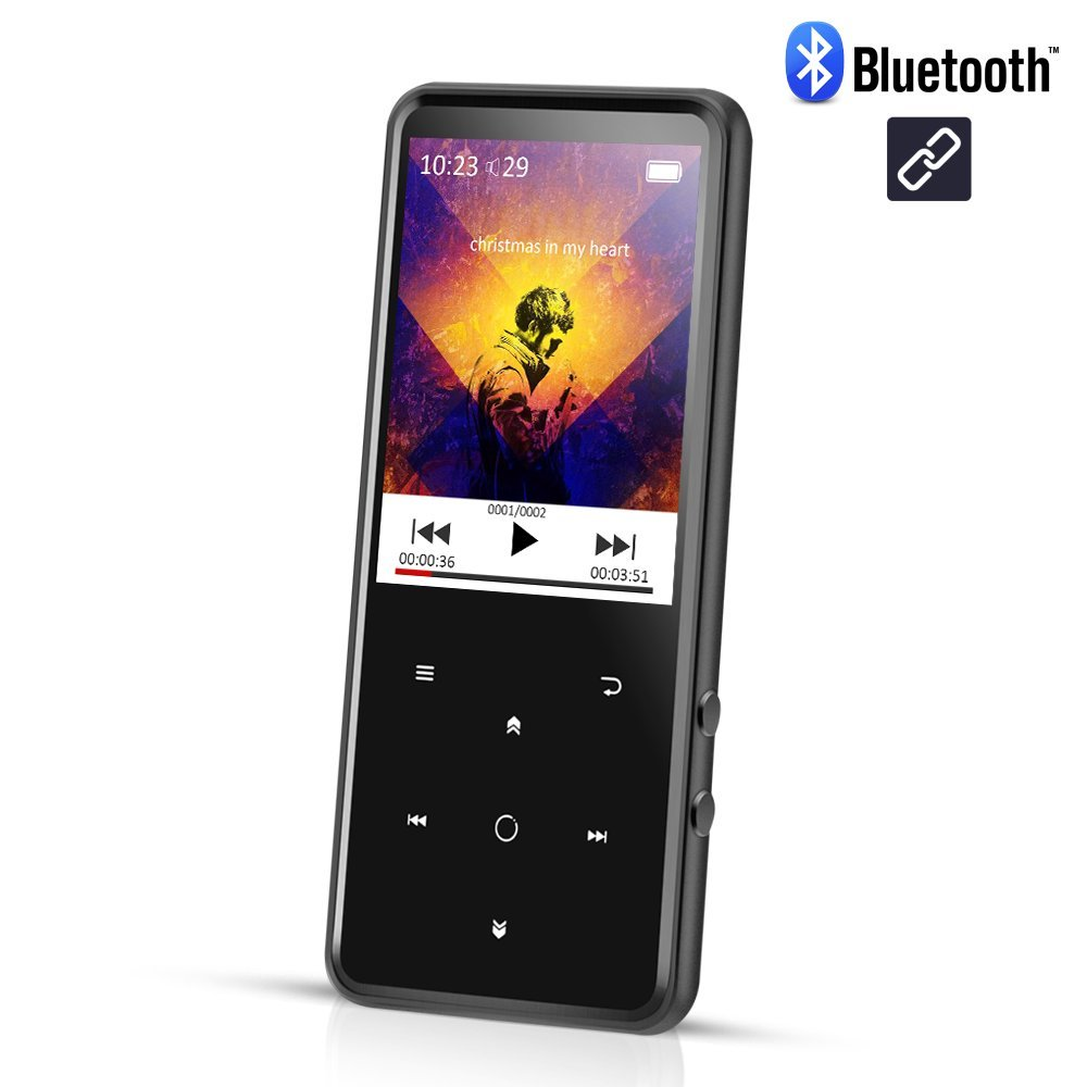 AGPTEK C2S 16GB Bluetooth 4.0 MP3 Player with 2.4 Inch TFT Color Screen, FM/Voice Recorder Lossless Sound Metal Music Player, Touch button with Backlight, (Support up to 128GB), Black