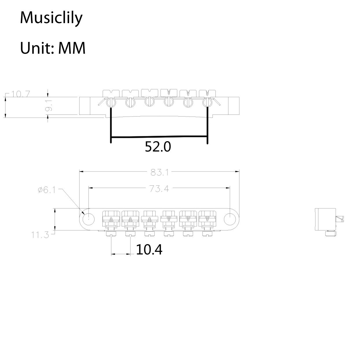 Musiclily ABR-1 Style Tune-o-matic Bridge Tailpiece Set for Gibson Les Paul Guitar Replacement, Gold