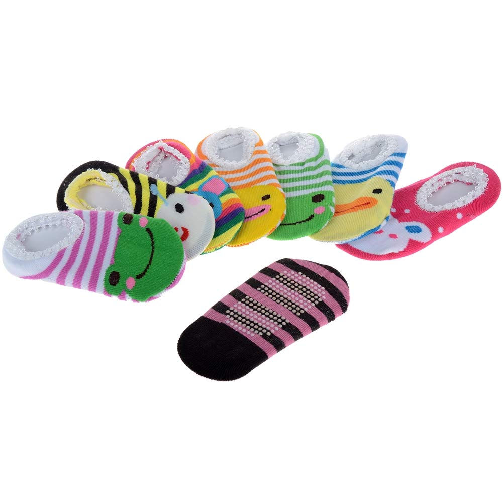 Lanyan 5 Pairs Cute Baby Toddler Stripes Anti Slip Skid Socks No-Show Crew Boat Sock For 6-18 month Random style