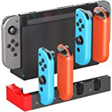 ElecGear Charging Dock for Nintendo Switch Joy-con, Quad USB Charger Stand Docking Station with LED Indicators, Wrap…