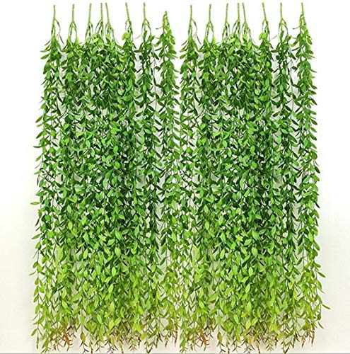6 Bunches Green Artificial Silk Hanging Vine Plant Willow Leaves for Home Garden Outdoor Wall Decoration from hilingo