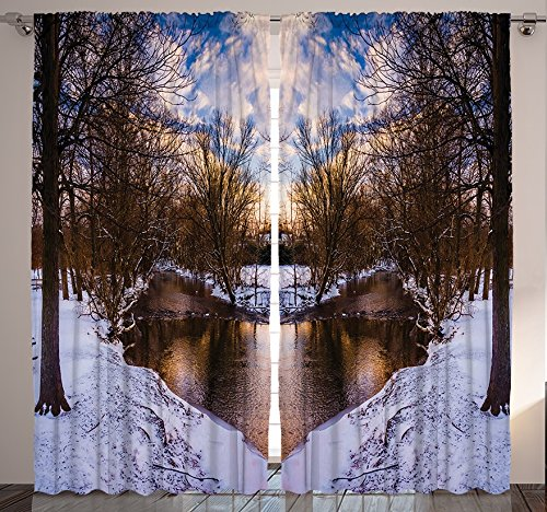 Ambesonne Landscape Home Decor, Snowy Winter Park Trees Heart Shape Lake River Sunset View Picture Art, Bedroom Living Room Curtain 2 Panels Set, 108 X 84 Inches, Blue White Brown For Sale