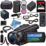 Sony FDR-AX700 4K Camcorder FDR-AX700/B + NP-FV70 Replacement Lithium Ion Battery + External Rapid Charger + Sony 64GB SDXC Card + 62mm 3 Piece Filter Kit + Carrying Case + Condenser Mic Bundle