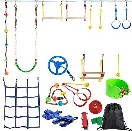 YYXT Ninja Warrior Obstacle Course For Kids-Ninja Slackline ...