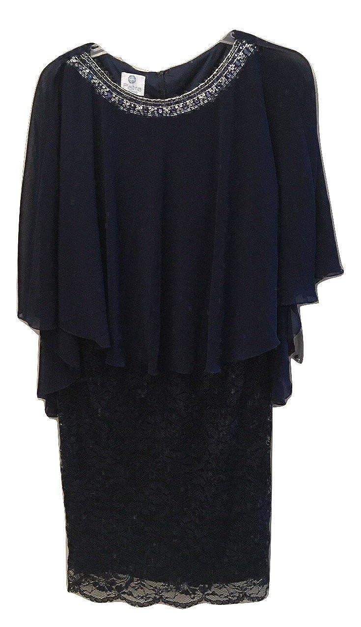Patra Plus Size Lace Capelet Dress Navy SZ 18W at Amazon ...