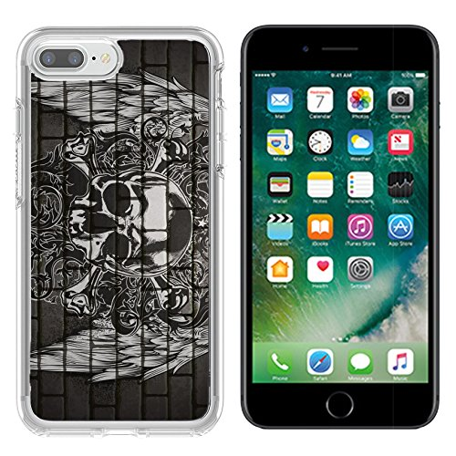 Luxlady Apple iPhone 7 plus/8 plus Clear case Soft TPU Rubber Silicone Bumper Snap Cases iPhone7 plus/8 plus IMAGE ID: 41979466 fashion art background with human skull in urban (Urban Skull Snap)