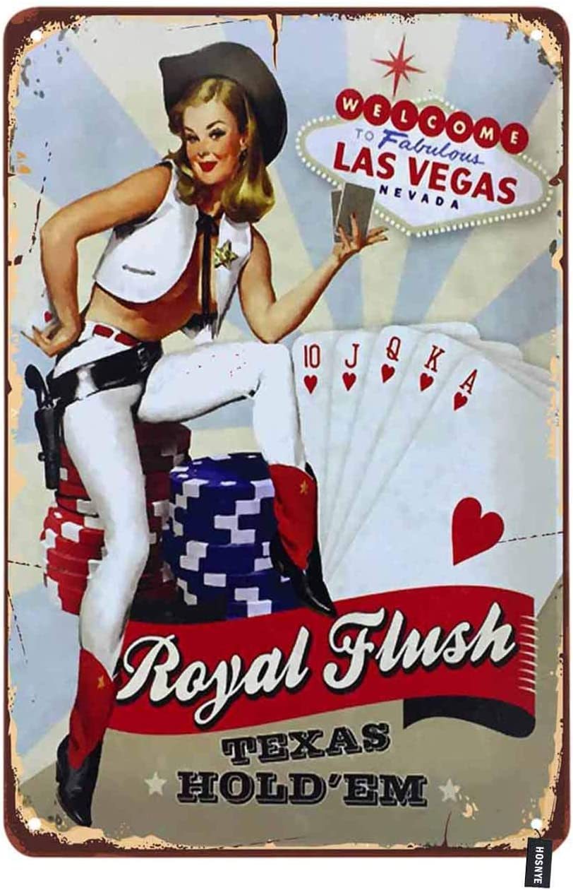 HOSNYE Pin Up Girls Tin Sign Welcome to Las Vegas Nevada Playing Cards Vintage Metal Tin Signs for Men Women Wall Art Decor for Home Bars Clubs Cafes 8x12 Inch