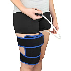 Cryotherapy Rehabilitating Thigh Wrap with Adjustable Compression Air Pump Wrap with Ice Pack for Thigh and Hamstring Pain Relief, Injuries, Surgery, Swelling Reduction and Arthritis by Brace Direct