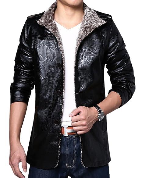 LaoZan Uomo PU pelle Giacca in pile Cappotti cappotto