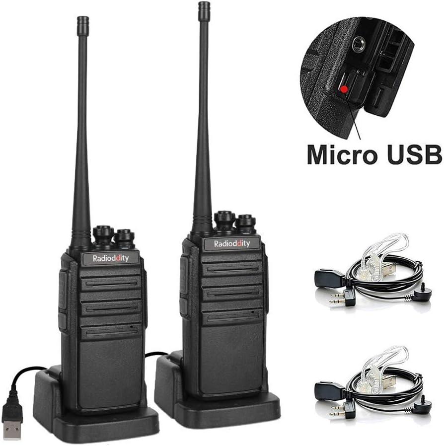 Walkie Talkies Radioddity GA-2S UHF Recargable Emisoras de Caza Largo Alcance Conexión de Carga Micro-USB con Auricular de Enlace acústico con Micro, ...